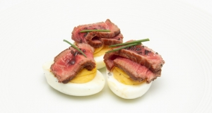 Horseradish Deviled Eggs With Seared Deer Filet
