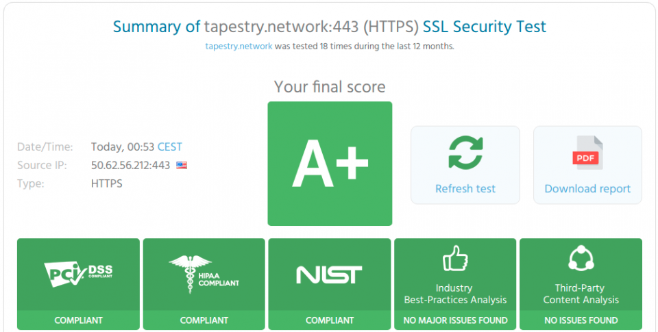 We just had a quarterly security audit by 8 different security compliance companies and we received another A+ rating in all three categories: PCI DSS, HIPAA, and NIST. This is the level of security we can offer for the websites and apps we build for our customers. To view the rating for yourself or to check out the rating of your site or app - try this free online security tool at https://www.htbridge.com/ssl/If you would like more information on how we can help, you can reach us in Knoxville at 865.234.2855; Jackson Hole, WY at 307.733.1644 or by email - info@tapestry.network.Mention Promo Code SRING2019 and get 15%25 any Website, Social Portal or CRM.