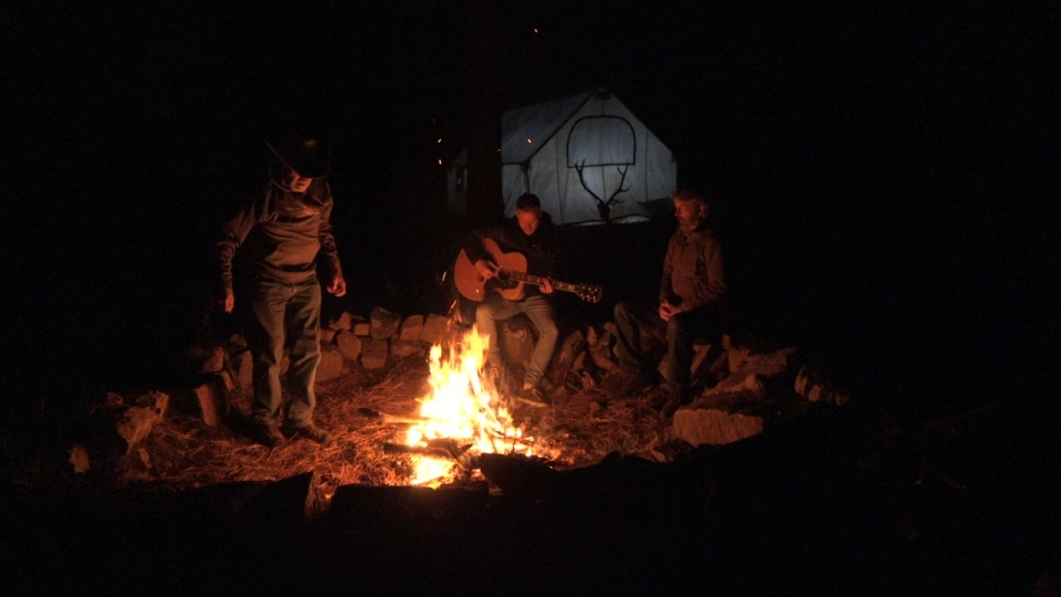 Around the fire at our Colorado elk camp with cowboy Grant Adkisson and Bethel Music founder and singer/songwriter Brian Johnson.  Fun times!